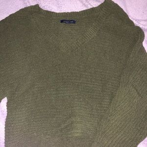 army green american eagle cropped knit sweater